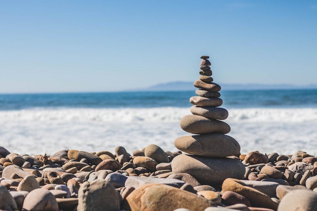 stack of stones by ocean